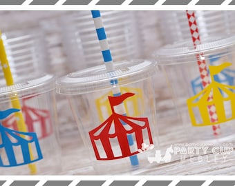 Circus Birthday Party, Set of 8 or 12 You Choose Party Cups, Favor Cups