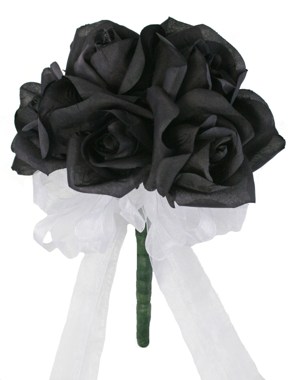 12 Black Roses Silk Flower Bridal Bouquet Wedding Toss