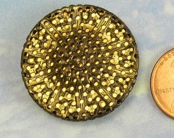 Victorian Antique Button 1 1/4 Ornate Mirrored Brass Button 123