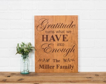 Gratitude Personalized Thanksgiving Family Cherry Plaque