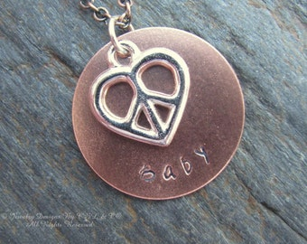 Peace Baby Hand Stamped Copper, Silver Plated Necklace
