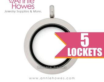 Wholesale Floating Locket Memory Locket Journey Locket 25mm  5 pack  (PF)