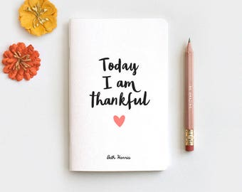 Gratitude Journal, Notebook Journal & Pencil - Today I am Thankful Gift, Midori Insert Travelers Journal, Stocking Stuffer