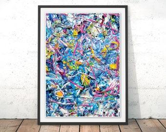 Jackson Pollock Art Print Abstract Wall Art Painting Blue Splatter Poster Expressionism Grafitti Art by Mark Lovejoy