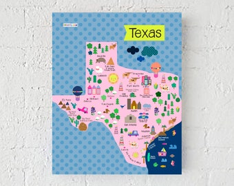 Texas Map, Texas Art Print, Wall Print, Wall Decoration, Print, Texas Cute Map