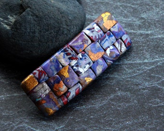 Purple hair barrette Mosaic barrette Hair accessory for women Polymer clay barrette Unique gift for women Handmade Hair pin Womens accessory