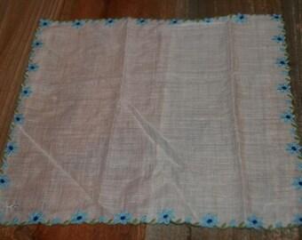 Vintage White  Hankie Handkerchief  Blue Flower Embroidered Design - Floral Vintage Hankie