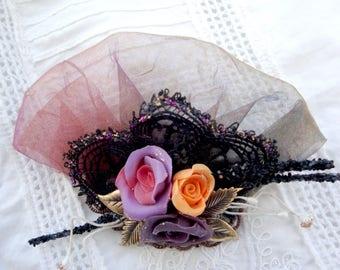 Three pink porcelain brooch Victorian brooch Victorian three roses