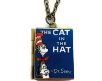 The Cat in the Hat Book Locket Necklace