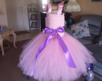 Wedding Birthday Pink and Purple or any color Flower Girl Tutu Dress