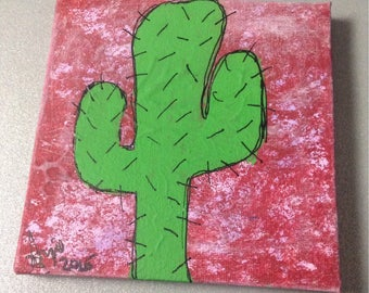 Cactus with red background