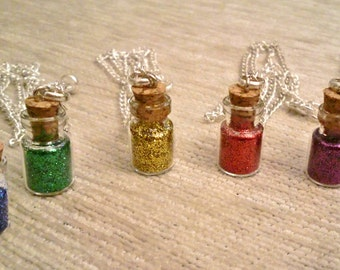 Pixie Dust Necklace Flask Bottle Charm Pendant Jewelry Glitter Cosplay