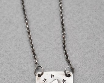 Sterling Silver Mountain with Star Pendant and Chain // Small Simple Necklace hand crafted in COLORADO