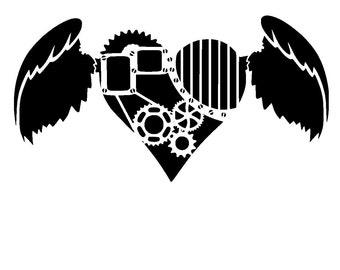 "6/6"" steampunk cogs heart stencil 1."