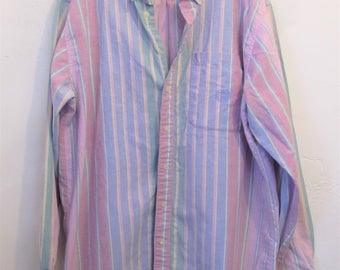 A Men's Vintage 80's,Long Sleeve PASTEL Striped Oxford Shirt By HOT T0PIC.XLT