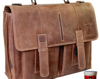 Briefcase GUTENBERG brown leather - BARON of MALTZAHN