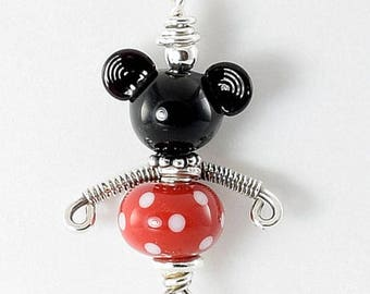 Lampwork Necklace - Mickey Lampwork Sterling Silver Wire Wrapped Necklace - KTBL