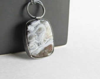 Natural Agate Druzy Necklace - Drusy Necklace - Oxidized Sterling Silver Necklace