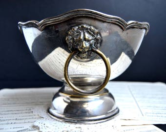 Antique French Lion Head Silver Plate Compote Bowl Ice Small Champage Bucket Vodka Chiller