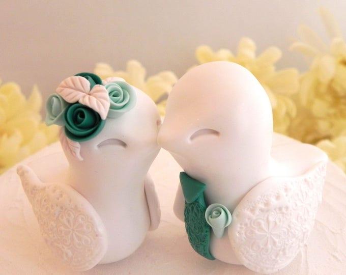 Love Birds Wedding Cake Topper, White, Light Green and Dark Green - Bride and Groom Keepsake, Fully Custom
