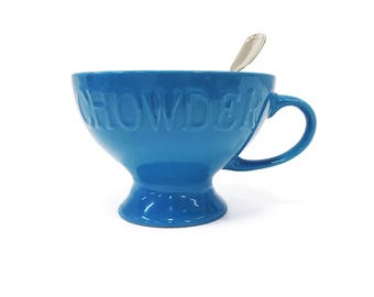 Blue Embossed Chowder Bowl With Handle