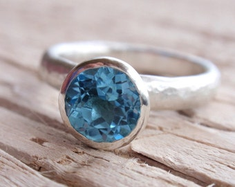 blue topaz ring - 7mm natural swiss blue topaz gemstone ring - stacking ring - solitaire - recycled sterling silver - handmade made to order