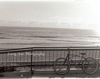 Beach view bicycle 5x7 photograph black and white carlsbad san diego beach home decor