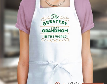 Great Grandmom Gift, Cooking Birthday Gift For Great Grandmom! Funny Apron, Greatest Great Grandmom, Personalized, Present Great Grandmom