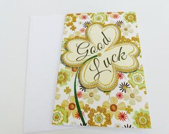 card good luck 4 leaf clover good luck glitter gold gilt
