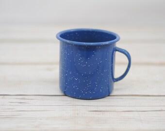 Vintage Blue And White Enamelware Cup Mug Granite Ware Cowboy Coffee Cup 3
