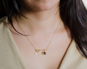 Personalized Gold Tree Branch Birthstone Necklace - OOAK Gift - Initial Customized Jewelry - Gift for Wife - Gift for Her - Family Tree