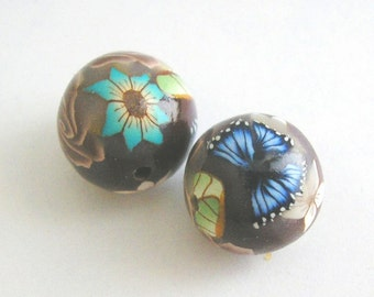 Polymer Clay Beads, Flower Round Beads Pair, Deep Brown 2 Pieces