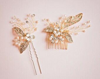 Gold Bridal Hair Comb, Gold Bridal Hair Pin, Gold Flower Hair Vine, Gold Hair Pin, Gold Headpiece, Gold bridal hair accessories