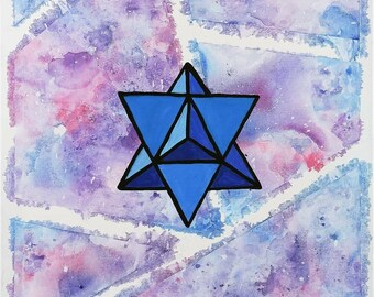 Art Print of Mixed Media Watercolor and Acrylic Star Tetrahedron Design - 8.5 x 11