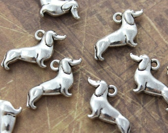 10 Dachshund Charms Dog Pendants Antiqued Silver Tone Double Sided 3D  12 x 20 mm
