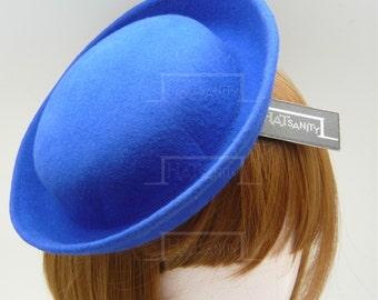 TRENDY Fashion Plain Wool Felt Miniature Bowler Hat Fascinator - Blue