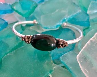 Malachite and Crushed Pyrite Cuff Bracelet