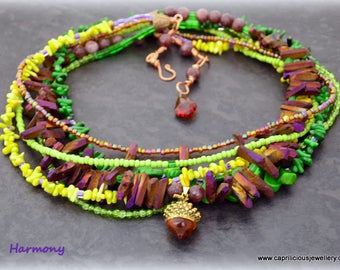 Statement Necklace, colourful necklace, Art Jewellery, Handmade Jewellery, colourful jewellery, UK shop, Sophisticated, autumnal, acorn