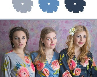 Silver, Blueberry Blue and Dusty Blue Wedding Color Bridesmaids Robes - Premium Rayon Fabric - Wider Belt and Lapels - Wider Kimono sleeves