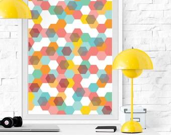 Printable poster, Artistic print, Geometric print, Hexagon poster, Cubes print, Optical effect art, Hexagon art, Pink, Blue, Orange, Yellow