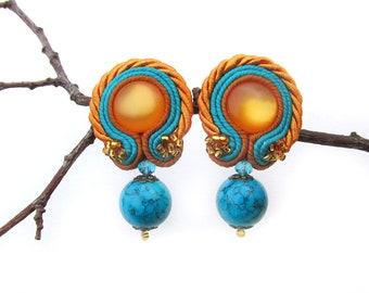 Clip on earrings Modern earrings Blue Mustard yellow earrings Bright boho earrings Short dangle earrings Soutache jewelry Summer gift