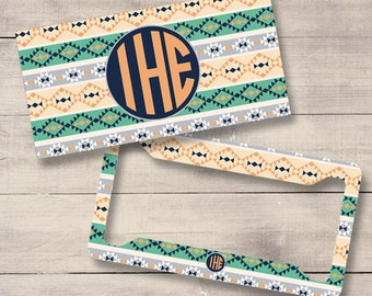 Teal and Peach Aztec Car Tags, Aztec License, Tribal Monogram License Plate and Frame, Personalized for Girls, Monogram Car Tag (0032)