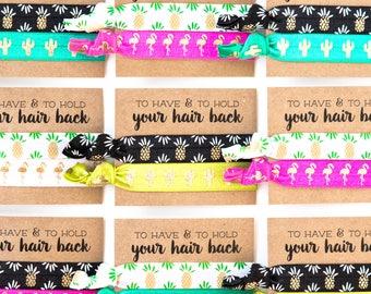 Pineapple Summer Bachelorette Hair Tie Favors, Tropical Luau Beach Bachelorette Hair Tie Favors, Flamingo Bachelorette