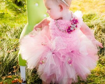 Baby Girl Tutu Outfit, Pink Cream First Birthday Outfit Set, Flowers, Petti Top, Tulle princess Dress, infant toddler Flower Girl, boutique