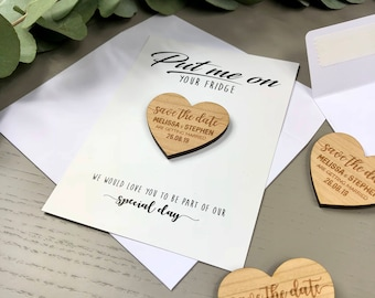 Save the Date Magnet with Cards - Calligraphy  Personalised Wooden Wedding Invitation Postcard Boho Heart Save-the-Date Envelopes - Modern