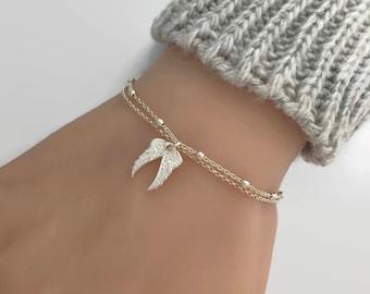 Sterling Silver Angel Wings Bracelet, Layering Angel Wings Bracelet, Adjustable bracelet, Memorial bracelet, Guardian angel wings bracelet