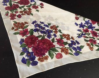 Vintage Sheer CREAM FLORAL Neck Scarf / 70s Purple And Burgundy Floral Square Scarf