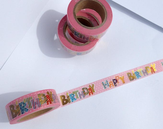 Happy Birthday Washi Tape - Fun Bright Colorful Paper Tape Great for Scrapbooking Paper Crafts Birthday Cards Gift Wrapping -  15mm x 10m