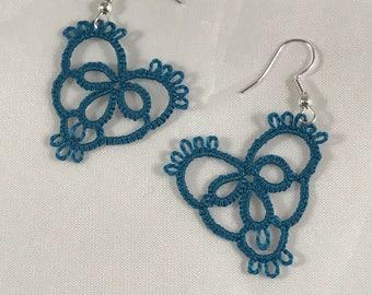 Teal heart shuttle tatted earrings