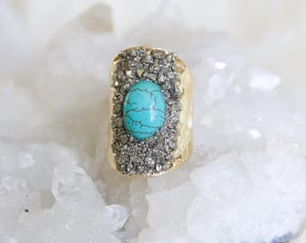 Pyrite Chip Cuff Ring -- Turquoise